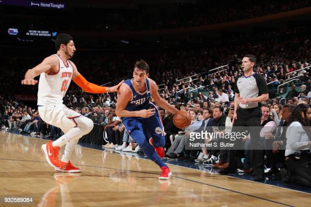 Dario Saric of the Philadelphia 76ers handles the ball during the game against the New York Knicks on March 15 2018 at Madison Square Garden in New...