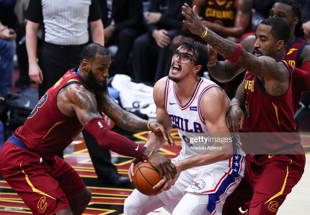 Dario Saric (9) of the Philadelphia 76ers in action during the NBA game between Cleveland Cavaliers and Philadelphia 76ers at Quicken Loans Arena on December 9, 2017 in Cleveland, United States.