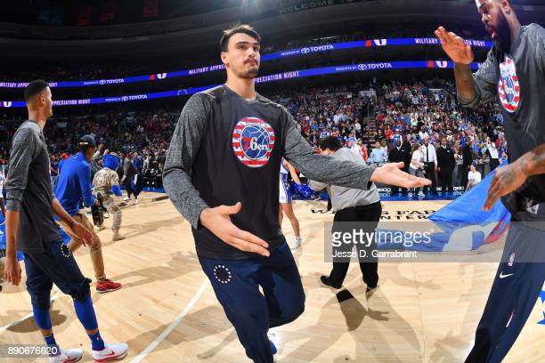 Dario Saric of the Philadelphia 76ers is introduced before the game against the Indiana Pacers on November 3 2017 at Wells Fargo Center in...