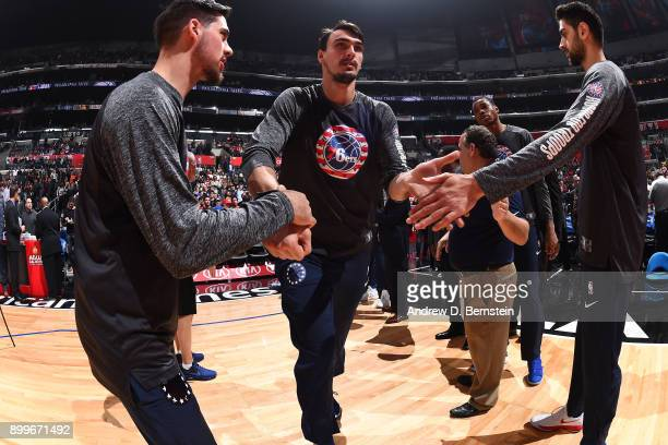 Dario Saric of the Philadelphia 76ers is introduced before the game against the LA Clippers on November 13 2017 at STAPLES Center in Los Angeles...