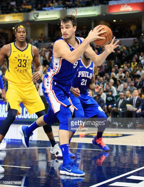 Dario Saric of the Philadelphia 76ers reaches the ball against the Indiana Pacers at Bankers Life Fieldhouse on November 7 2018 in Indianapolis...