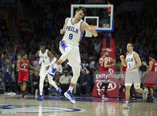 Dario Saric of the Philadelphia 76ers reacts after making a basket against the Toronto Raptors at the Wells Fargo Center on January 18 2017 in...