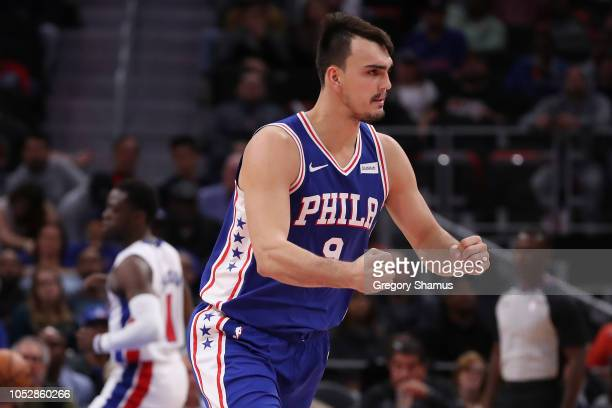 Dario Saric of the Philadelphia 76ers reacts to a second half three point basket while playing the Detroit Pistons at Little Caesars Arena on October...