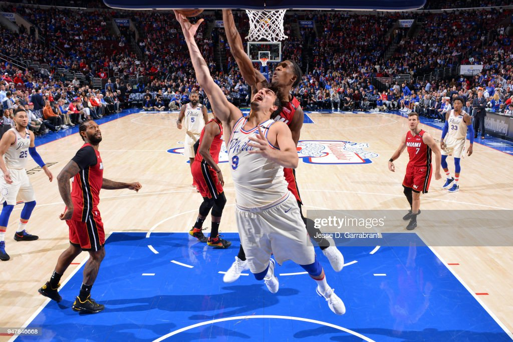 Dario Saric #9 of the Philadelphia 76ers shoots a layup against the Miami Heat in Game Two of Round One of the 2018 NBA Playoffs on April 16, 2018 in Philadelphia, Pennsylvania