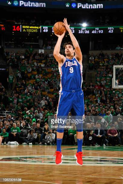 Dario Saric of the Philadelphia 76ers shoots the ball against the Boston Celtics on October 16 2018 at the TD Garden in Boston Massachusetts NOTE TO...