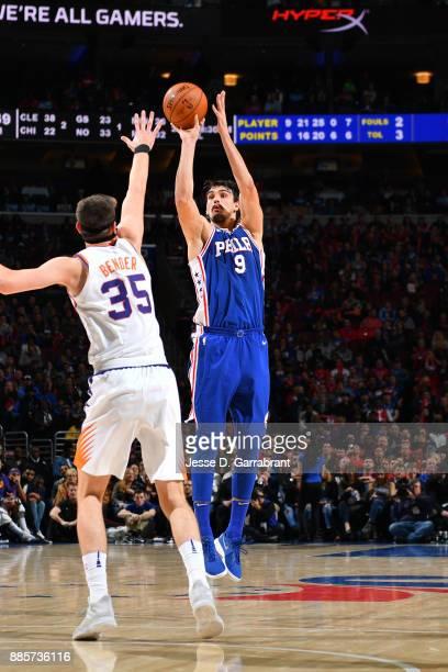 Dario Saric of the Philadelphia 76ers shoots the ball against the Phoenix Suns on December 4 2017 at Wells Fargo Center in Philadelphia Pennsylvania...