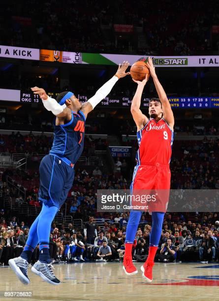 Dario Saric of the Philadelphia 76ers shoots the ball against the Oklahoma City Thunder at Wells Fargo Center on December 15 2017 in Philadelphia...