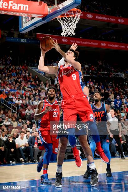 Dario Saric of the Philadelphia 76ers shoots the ball during the game against the Oklahoma City Thunder on December 15 2017 at the Wells Fargo Center...