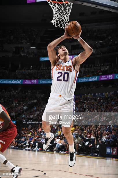 Dario Saric of the Phoenix Suns shoots the ball during the game against the Denver Nuggets during Round 2, Game 4 of the 2021 NBA Playoffs on June...