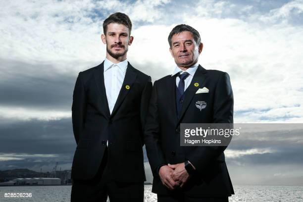 Dario Vidosic and father Rado Vidosic pose during a Wellington Phoenix ALeague media announcement at Wharewaka Function Centre on August 10 2017 in...