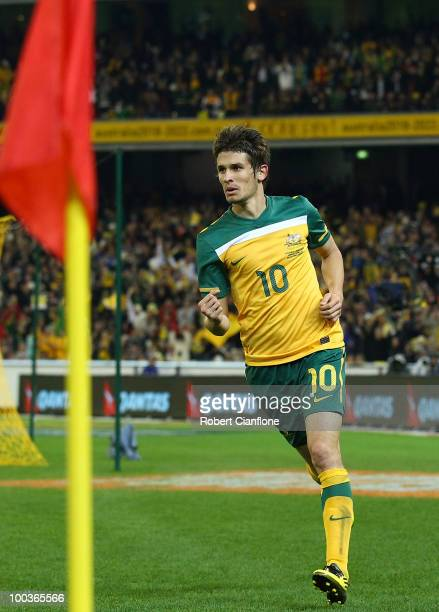 Dario Vidosic of Australia celebrates after he scored a goal during the 2010 FIFA World Cup PreTournament match between the Australian Socceroos and...