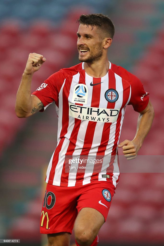 Dario Vidosic of Melbourne City celebrates a goal during the round 25 A-League match between the Newcastle Jets and Melbourne City at McDonald Jones Stadium on April 1, 2018 in Newcastle, Australia.