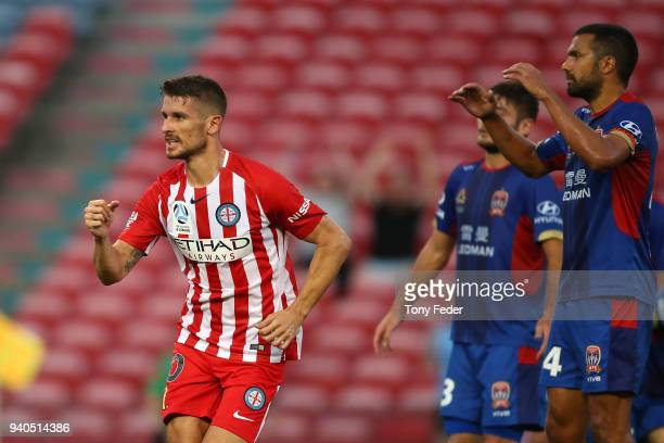 Dario Vidosic of Melbourne City celebrates a goal during the round 25 ALeague match between the Newcastle Jets and Melbourne City at McDonald Jones...
