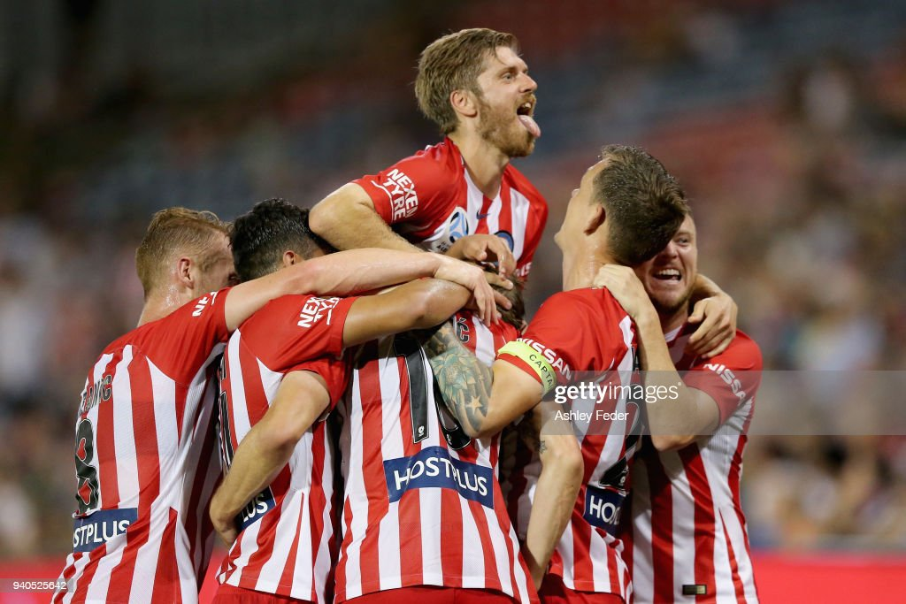 Dario Vidosic of Melbourne City celebrates his goal with team mates during the round 25 A-League match between the Newcastle Jets and Melbourne City at McDonald Jones Stadium on April 1, 2018 in Newcastle, Australia.