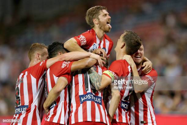 Dario Vidosic of Melbourne City celebrates his goal with team mates during the round 25 ALeague match between the Newcastle Jets and Melbourne City...