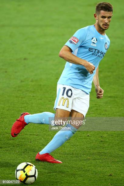 Dario Vidosic of Melbourne City runs with the ball during the round 18 ALeague match between Melbourne City FC and the Newcastle Jets at AAMI Park on...