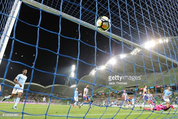 Dario Vidosic of Melbourne City scores the equalising goal in the 82nd minute during the round 18 ALeague match between Melbourne City FC and the...