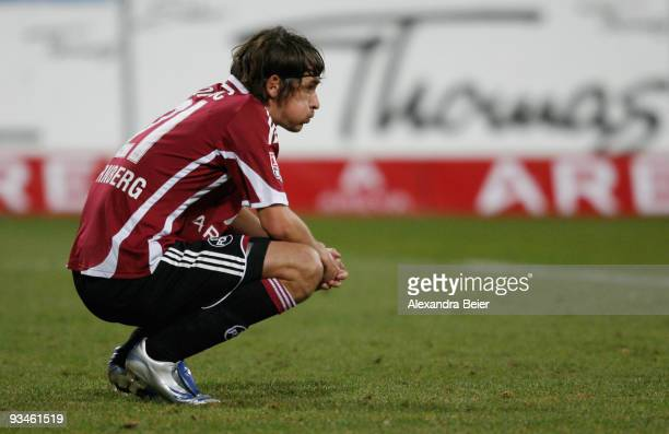 Dario Vidosic of Nuernberg reacts after his team's loss against Freiburg during the Bundesliga match between 1. FC Nuernberg and SC Freiburg at Easy...
