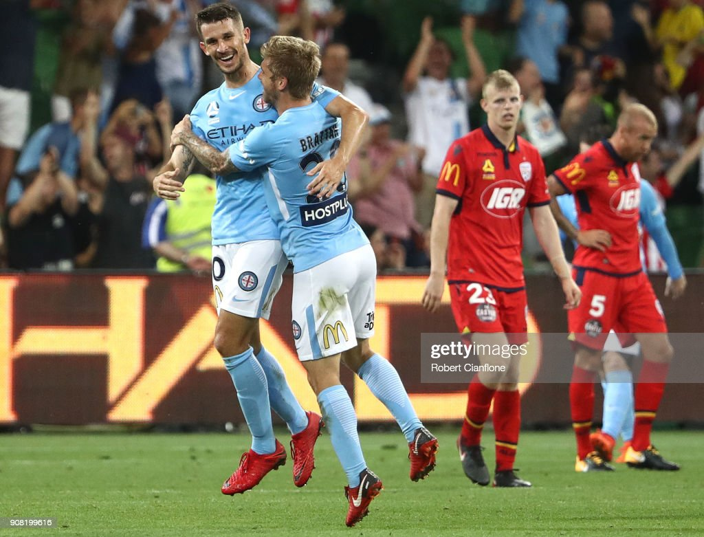 Dario Vidosic of the City celebrates after scoring his second goal during the round 17 A-League match between Melbourne City and Adelaide United at AAMI Park on January 21, 2018 in Melbourne, Australia.