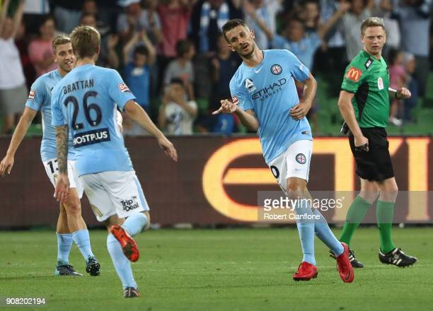 Dario Vidosic of the City celebrates after scoring his second goal during the round 17 ALeague match between Melbourne City and Adelaide United at...