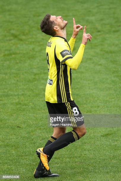 Dario Vidosic of the Phoenix celebrates after scoring a goal during the round one ALeague match between Wellington Phoenix and Adelaide United at...