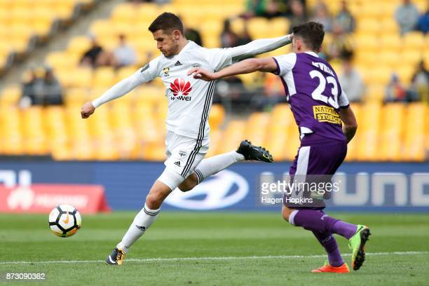 Dario Vidosic of the Phoenix shoots during the round six ALeague match between the Wellington Phoenix and the Perth Glory at Westpac Stadium on...