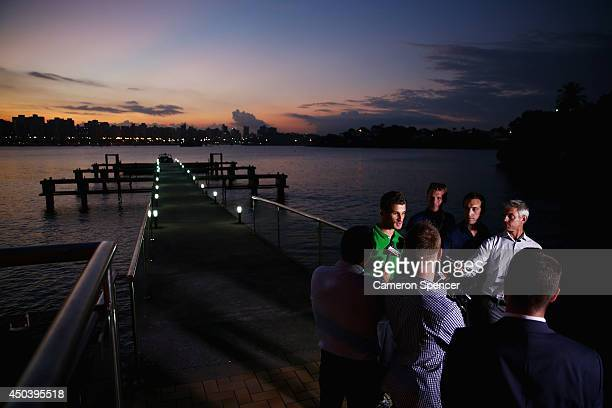 Dario Vidosic of the Socceroos is interviewed during an Australian Socceroos media session at Hotel Ilha do Boi on June 10 2014 in Vitoria Brazil