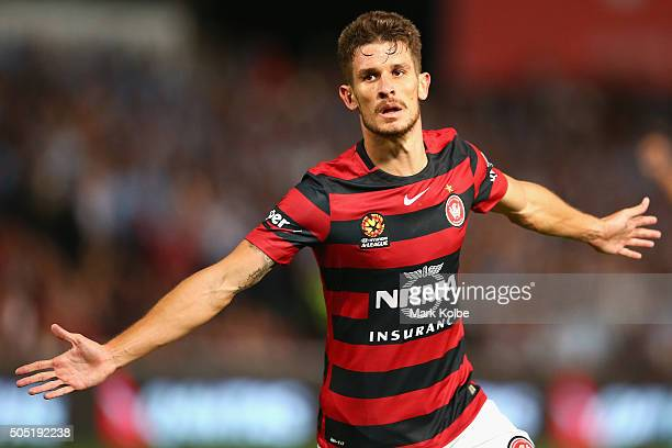 Dario Vidosic of the Wanderers celebrates scoring a goal during the round 15 ALeague match between the Western Sydney Wanderers and Sydney United at...