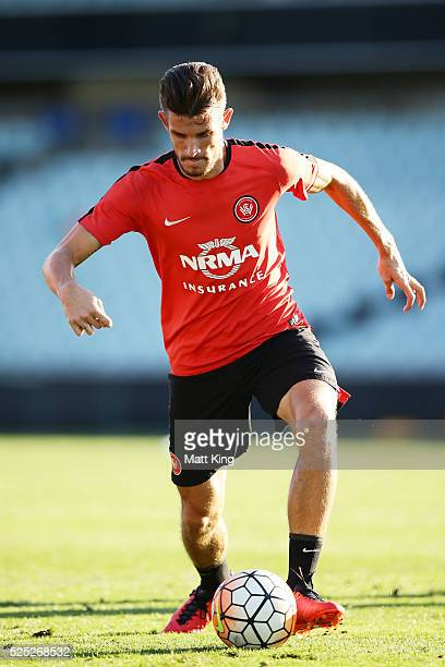 Dario Vidosic of the Wanderers controls the ball during a Western Sydney Wanderers ALeague training session at Pirtek Stadium on April 28 2016 in...