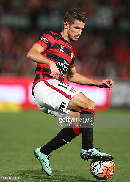 Dario Vidosic of the Wanderers controls the ball during the round 24 ALeague match between the Western Sydney Wanderers and Adelaide United at Pirtek...
