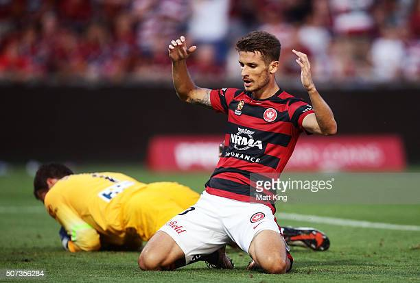 Dario Vidosic of the Wanderers reacts after a missed opportunity on goal during the round 17 ALeague match between the Western Sydney Wanderers and...