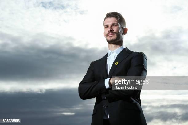 Dario Vidosic poses during a Wellington Phoenix ALeague media announcement at Wharewaka Function Centre on August 10 2017 in Wellington New Zealand