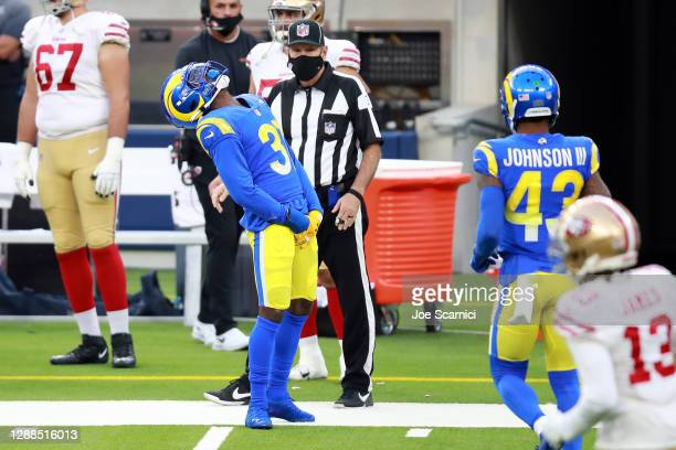 Darious Williams of the Los Angeles Rams reacts after dropping an interception during the second half against the San Francisco 49ers at SoFi Stadium...