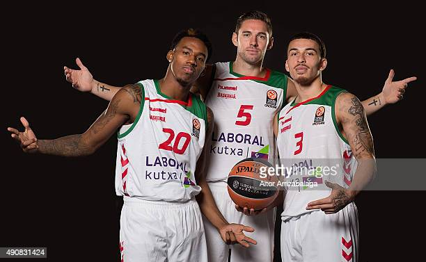 Darius Adams #20 of Laboral Kutxa Vitoria Gasteiz Fabien Causeur #5 and Mike James #3 poses during the 2015/2016 Turkish Airlines Euroleague...