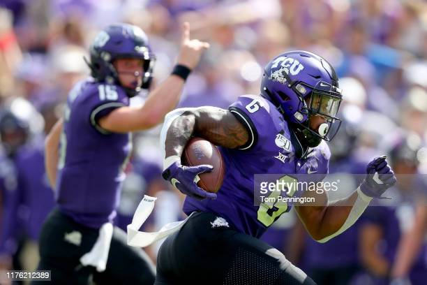Darius Anderson of the TCU Horned Frogs scores a touchdown as quarterback Max Duggan of the TCU Horned Frogs celebrates against the Southern...