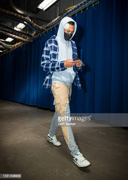 Darius Bazley of the Oklahoma City Thunder arrives to the arena before the game against the Portland Trail Blazers on February 16, 2021 at Chesapeake...