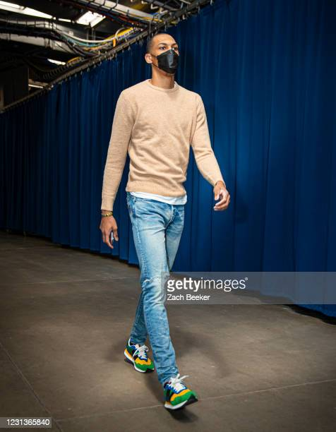 Darius Bazley of the Oklahoma City Thunder arrives to the arena before the game against the San Antonio Spurs on February 24, 2021 at Chesapeake...