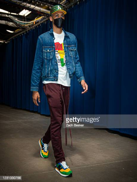 Darius Bazley of the Oklahoma City Thunder arrives to the game against the Miami Heat on February 22, 2021 at Chesapeake Energy Arena in Oklahoma...