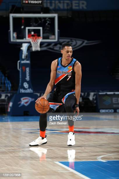Darius Bazley of the Oklahoma City Thunder dribbles during the game against the Portland Trail Blazers on February 16, 2021 at Chesapeake Energy...
