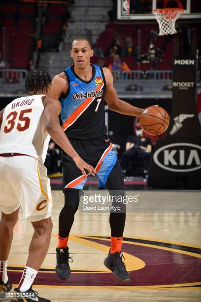 Darius Bazley of the Oklahoma City Thunder dribbles the ball during the game against the Cleveland Cavaliers on February 21, 2021 at Rocket Mortgage...