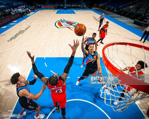 Darius Bazley of the Oklahoma City Thunder drives to the basket during the game against the Portland Trail Blazers on February 16, 2021 at Chesapeake...
