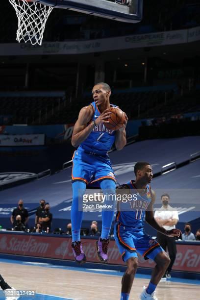 Darius Bazley of the Oklahoma City Thunder grabs the rebound against the Miami Heat on February 22, 2021 at Chesapeake Energy Arena in Oklahoma City,...