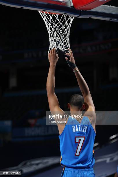 Darius Bazley of the Oklahoma City Thunder looks on during the game against the Miami Heat on February 22, 2021 at Chesapeake Energy Arena in...