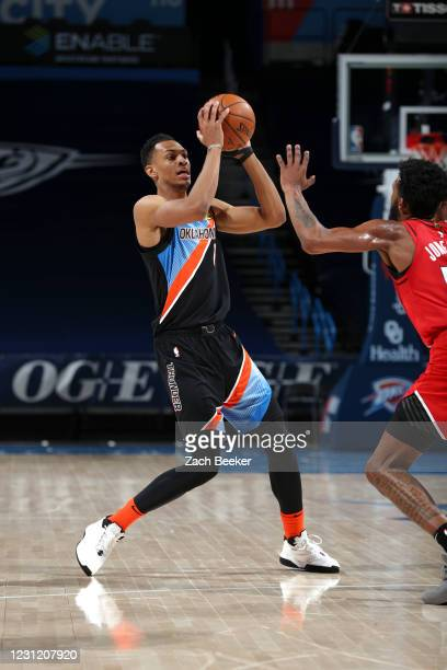 Darius Bazley of the Oklahoma City Thunder looks to pass the ball during the game against the Portland Trail Blazers on February 16, 2021 at...