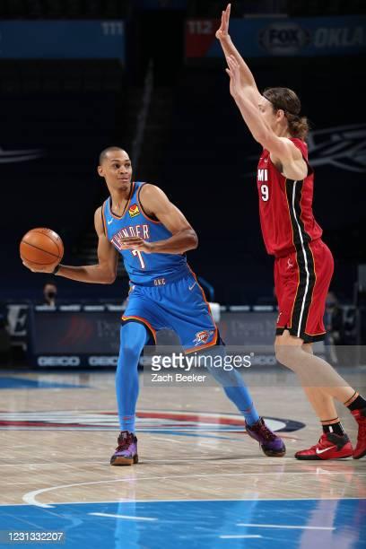 Darius Bazley of the Oklahoma City Thunder looks to pass the ball against the Miami Heat on February 22, 2021 at Chesapeake Energy Arena in Oklahoma...