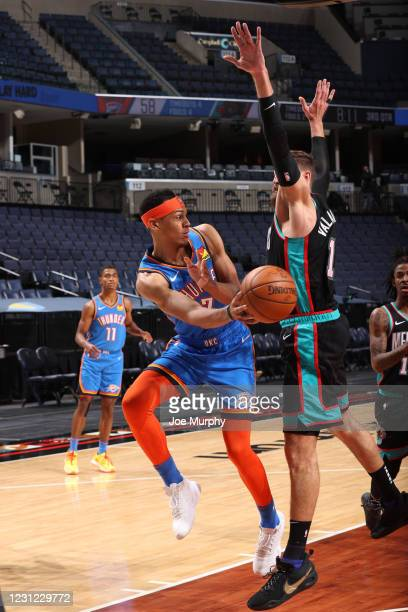 Darius Bazley of the Oklahoma City Thunder passes the ball during the game against the Memphis Grizzlies on February 17, 2021 at FedExForum in...