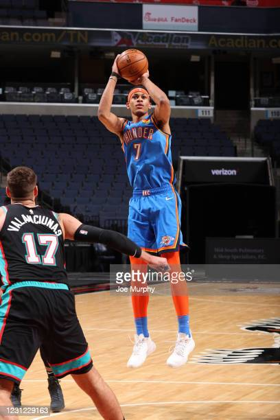 Darius Bazley of the Oklahoma City Thunder shoots a three point basket during the game against the Memphis Grizzlies on February 17, 2021 at...