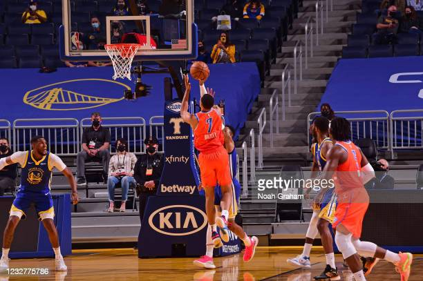 Darius Bazley of the Oklahoma City Thunder shoots the ball against the Golden State Warriors on April 8, 2021 at Chase Center in San Francisco,...