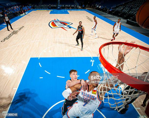 Darius Bazley of the Oklahoma City Thunder shoots the ball during the game against the San Antonio Spurs on February 24, 2021 at Chesapeake Energy...