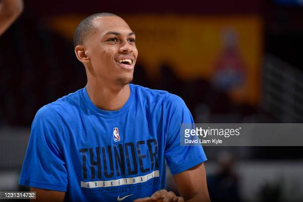 Darius Bazley of the Oklahoma City Thunder smiles before the game against the Cleveland Cavaliers on February 21, 2021 at Rocket Mortgage FieldHouse...